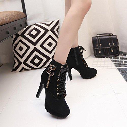 Bottines Inkach Pour Femme | Botte De Neige Fine Talons Hauts | Lacets Casual Plate-forme Bottes Chaussures Noir