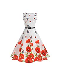 FAIRY COUPLE Girl's Sleeveless Vintage Floral Swing Party Dresses with Belt KHR003