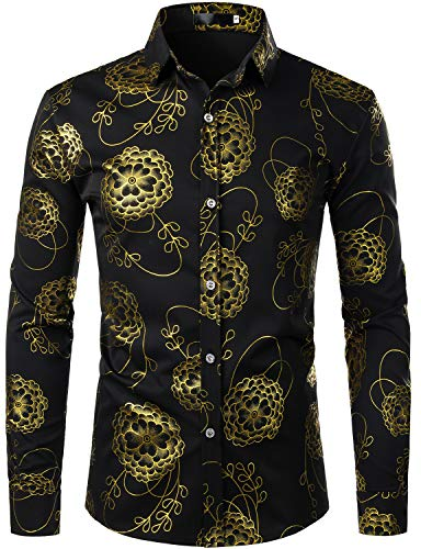 Golden Long Sleeve - ZEROYAA Men's Hipster 3D Golden Floral Printed Slim Fit Long Sleeve Button Down Dress Shirts ZZCL32 Black Large