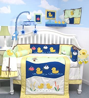 Soho Quack Quack Ducks Baby Crib Nursery Bedding Set 13 Pcs Included Diaper Bag With Changing Pad Bottle Case from SoHo Designs