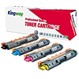 Kingway TN221 TN225 Compatible Brother TN-221 TN-225 High Yield Color Toner Cartridge for Brother HL-3170CDW MFC-9130CW MFC-9330CDW HL-3140CW MFC-9340CDW Printer (Black, Cyan, Yellow, Magenta, 4-Pack)