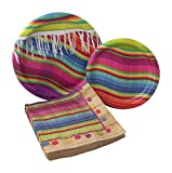Serape Fiesta Party Bundle with Paper Plates and Napkins for 8 Guests