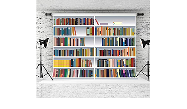 RBQOKJ 10x10ft White Bookshelf Backdrop Modern Library Photography Background Back to School Party Photo Shoot Backdrops Studio Prop