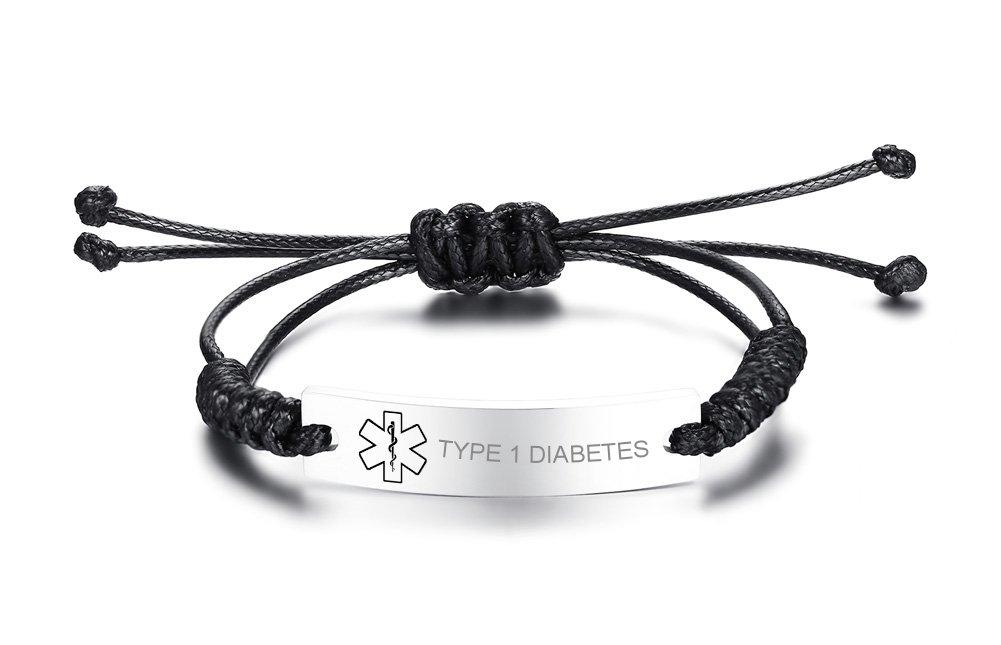 VNOX TYPE 1 DIABETES Medical Alert ID Handmade Braid Rope Stainless Steel Adjustable Bracelet for Child&Adult