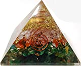 Mixed Stone Crystal Orgone Pyramid / Includes 4 Crystal Quartz Energy Points / EMF Protection Meditation Yoga Energy Generator