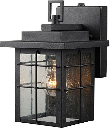 Hardware House 21-9389 Textured Black Lantern Wall Fixture with Photo Cell Large Wall Fixture