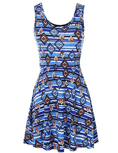 [Sleeveless Fit and Flare Style Cut Back Geo Printed Short Dresses] (Vintage Paisley Print Costumes)
