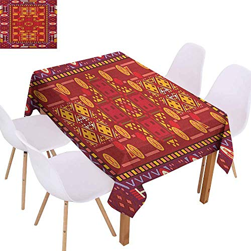 Stain-Resistant Tablecloth Afghan Afghan Pattern with Eastern Folklore Inspirations Geometric Shapes in Warm Colors Excellent Durability W40 xL60 Multicolor Great for Buffet Table