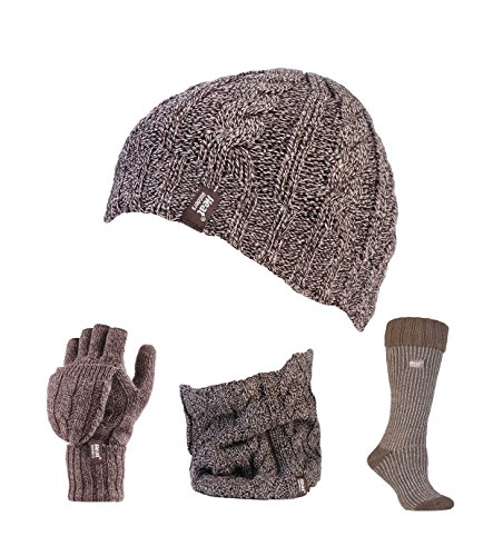 Heat Holders - Ladies Thermal Hat, Gloves, Neck Warmer & Boot Socks Set Size 5-9 (Fawn / Beige Boot)
