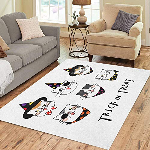 Semtomn Area Rug 5' X 7' Different Emotion Face of Cat for Halloween Day Draw Home Decor Collection Floor Rugs Carpet for Living Room Bedroom Dining -