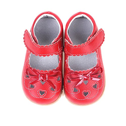 BUBA Baby Girls Soft Shoe,Sole Leather Toddler Shoes (26, Red) (Girls Red Sequin Shoe Covers)