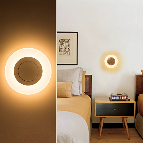 Modern Round LED Wall Sconce, 1-Light Mini Creative Circle 3000K Warm White for Bedroom, Hallway, Aisle, Bedside, White, 12W,(960LM) by Harchee
