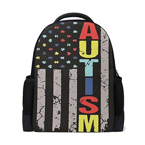 CHLBOJ Autism Awareness American Flag Polyester Backpack School Travel -