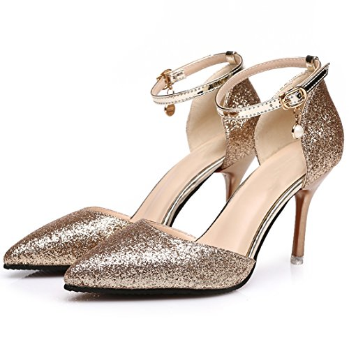 AIYOUMEI Womens Ankle Strap Glitter Pointed Toe Stiletto High Heels Strappy Pumps Elegant Shoes Gold PMevB9yfx7