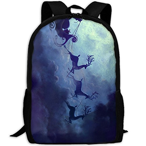 Bag Travel Chariot (CY-STORE Santa Reindeer Chariot Full Moon Print Custom Casual School Bag Backpack Travel Daypack Gifts)