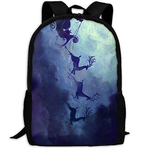 Chariot Travel Bag (CY-STORE Santa Reindeer Chariot Full Moon Print Custom Casual School Bag Backpack Travel Daypack Gifts)