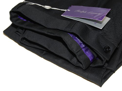 Ralph Lauren Purple Label Mens Black Flat Front Dress Pan...