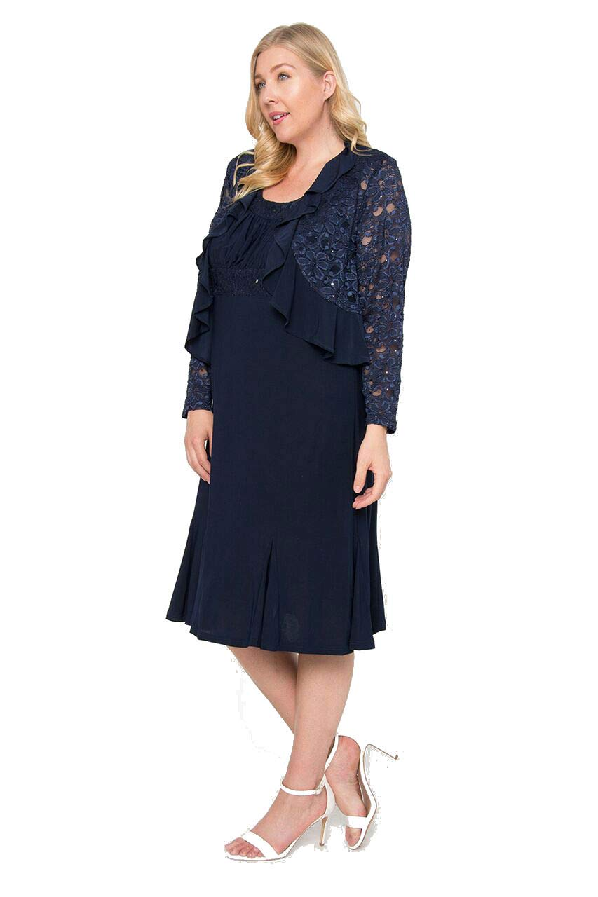 R&M Richards Short Plus Size Mother of The Bride Dress - Navy - 14W
