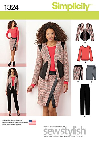 Simplicity Sewstylish Pattern 1324 Misses Slim Pants, Mock Wrap Skirt, Lined Jacket and Knit Top Sizes 8-10-12-14-16 ()