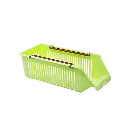 ounona cocina, frigorífico, congelador de almacenamiento organizador bandejas, asas recogida cesta contenedor para