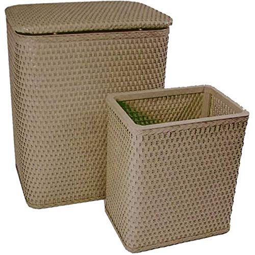 (OKSLO Mocha chelsea collection full size hamper and matching wastebasket)