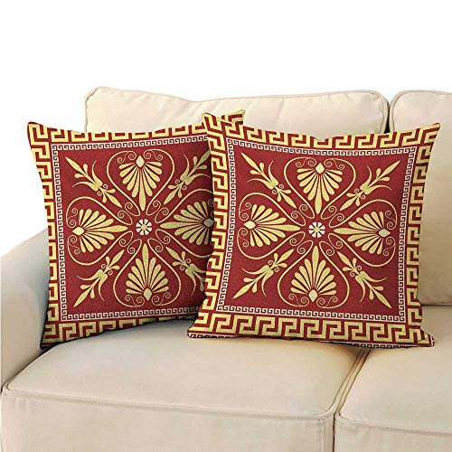 Ediyuneth Spring Throw Pillow Cushion Cover Greek Key,Old Fashioned Frame Design with The Greek Labyrinth and Curly Leaves Flowers,Ruby Yellow 18