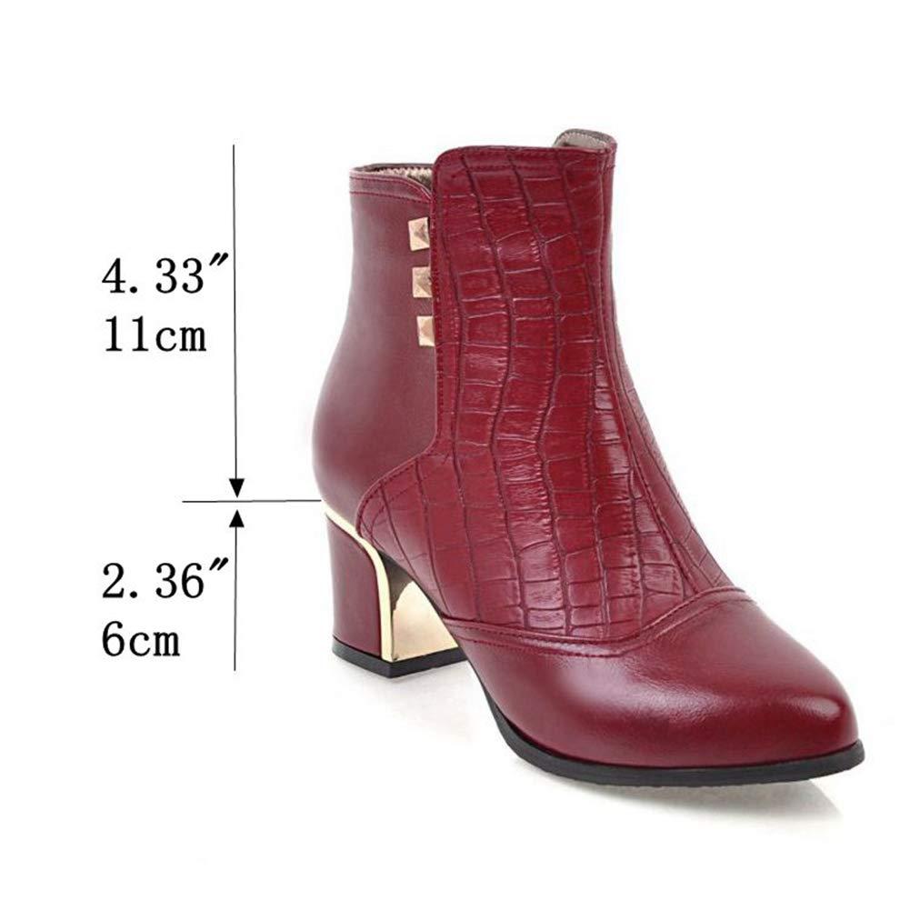Btrada Women's Rivet Short Ankle Ankle Ankle Boots Fashion Pointy Toe Block Chunky Heel Booties Side Zipper Pumps B07H884JFZ Bootie 425edd