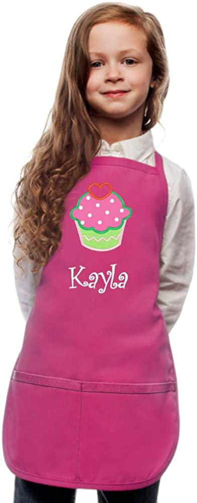 Personalized Kids Apron Custom Embroidered Cupcake Applique Monogrammed Art Chef Party Gift