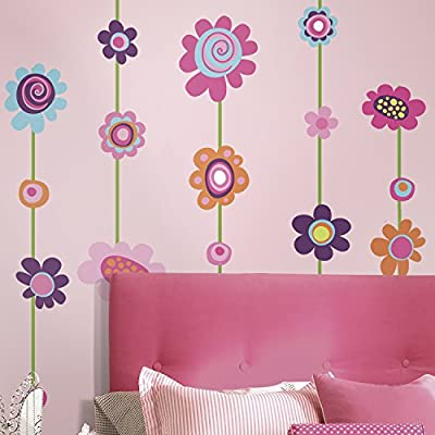 RoomMates RMK1622GM Flower Stripe Peel & Stick Giant Wall Decal
