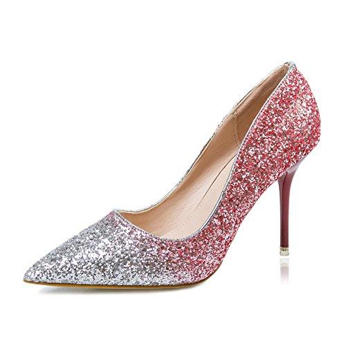 Femmes Glitter Pointu Toe Slip Sur Talon Haut Robe Stiletto Chaussures De Pompe De Mariage Rouge