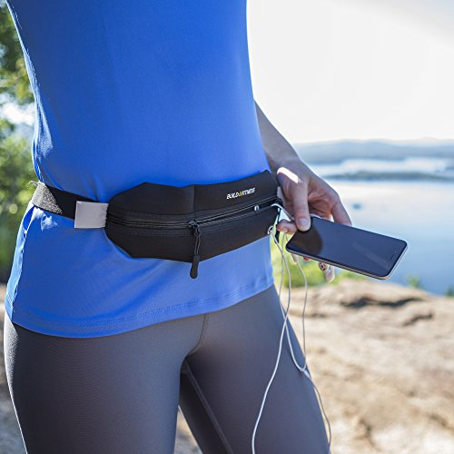 Zipper Running Belt, Travel Belt, Fitness Belt, Adjustable, Neoprene, Waterproof, Reflective. iPhone 6/7,8 Unisex. Walking, Jogging, Gym Workouts, Exercise, Cycling, Sports, Outdoors