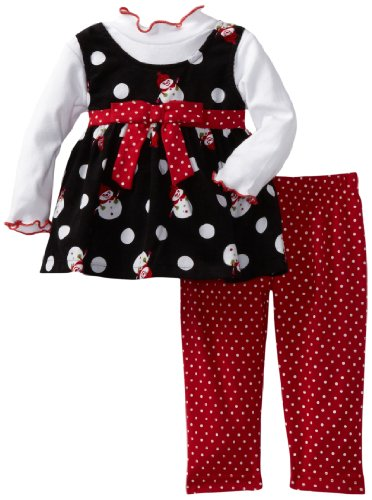 Blueberi Boulevard Baby Girls' Cord Snowman Jumper Set