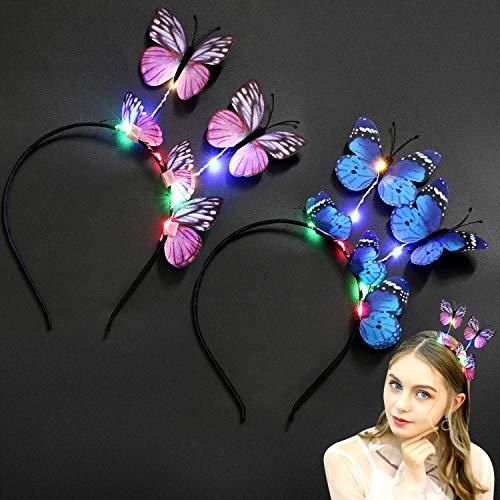 Coxeer LED Butterfly Headbands Luminous 8LEDs Light up Hair Hoop Party Headbands for Girls Women Wedding Festival Holiday (2PCS)