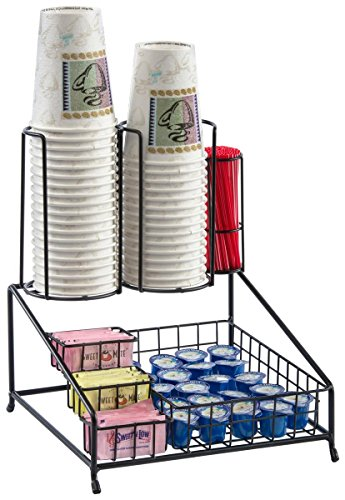 Displays2go 7-Compartment Cup, Lid and Coffee Condiment Organizer, Black Steel Wire