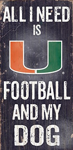 Fan Creations C0640 University of Miami Football and My Dog Sign (Sign Miami Hurricanes)
