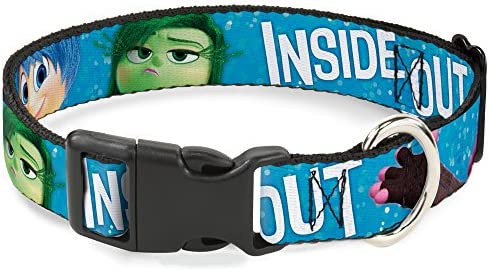 Buckle-Down Inside Out 6-Character Pose Sparkle Blue/White Disney Breakaway Plastic Clip Collar, Narrow-Large