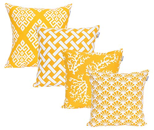 ACCENTHOME Square Printed Cotton Cushion Cover,Throw Pillow Case, Slipover Pillowslip for Home Sofa Couch Chair Back Seat,4pc Pack 18x18 in Yellow Color (Cushions Sale)