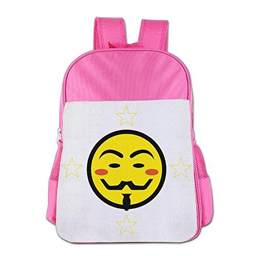 Hugo Ball Costume (Mmo-J Funny Vendetta Smiley Children School Bag Backpack For 4-15 Years Old Pink)