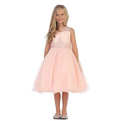 bd28298af94 Angels Garment Little Girls Blush Glitter Applique Flower Girl Dress 6