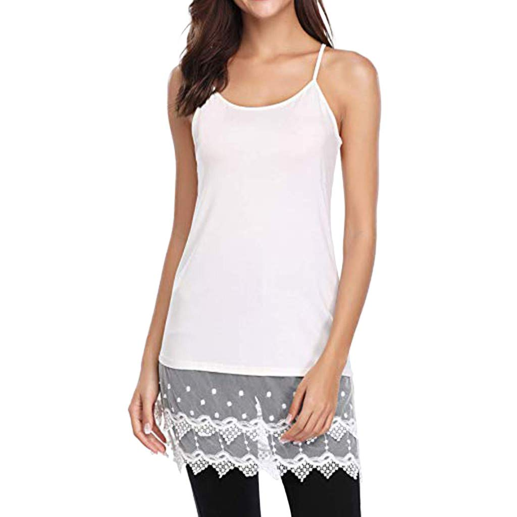 NUWFOR Women Ladies Solid Sexy Lace Patchwork Insert O-Neck Sling Loose Tank Top Blouse(White,US S Bust:29.9'')