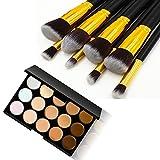 Tmalltide 8 PCS Professional Makeup Brush Set Maquiagem Pincel Maquiagem Brochas Maquillaje Kabuki + 15 Colors Concealer (Gold)
