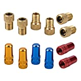 12 paquetes de adaptadores de válvula Presta para bicicleta y tapas de válvulas para neumáticos, SonKu Presta al convertidor de bomba de tubo Schrader con 3 pares de tapones de aire para neumáticos (dorado, azul y rojo)
