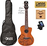 Luna Concert Tattoo Ukulele - UKE TEC MAH - Acoustic/Electric Onboard Preamp, Mahogany Body, Gig Bag, Tuner, Strings, Polishing cloth