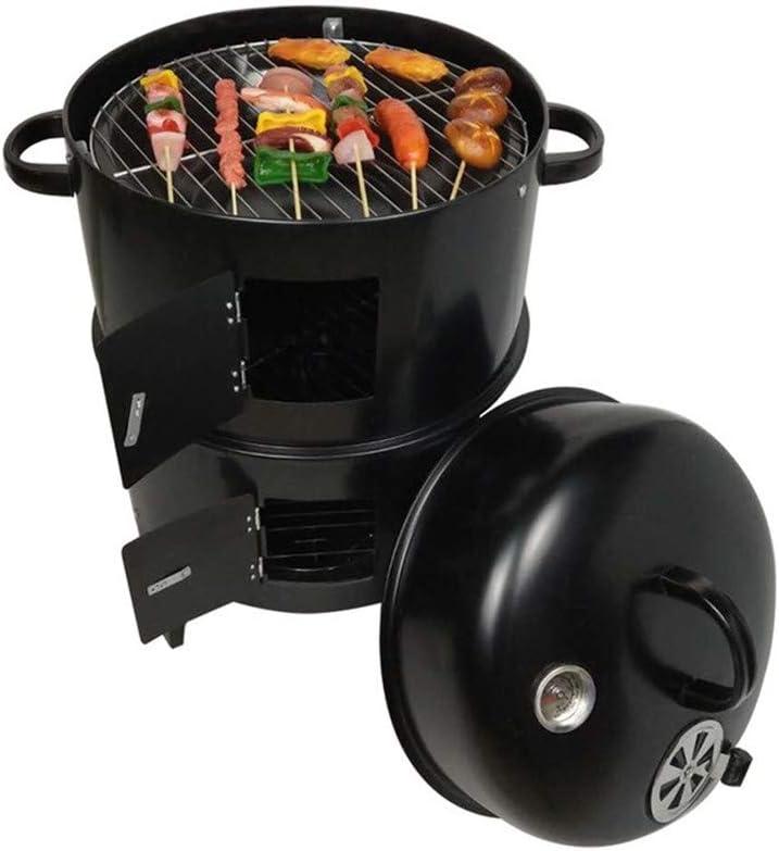 WQY DIY Smoker BBQ Grill Estufa De Carbón Redonda Parrillas De Barbacoa Portátiles De Tocino Al Aire Libre 40X80cm