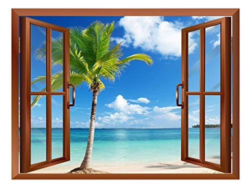 Beautiful Scenery Palm Tree and Clear Sea View from Inside a Window Removable Wall Sticker Wall Mural