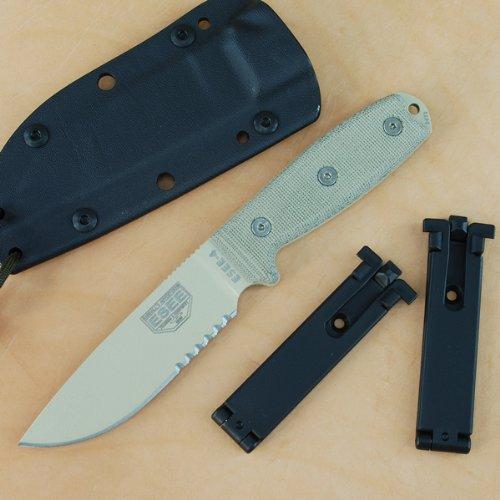 ESEE-4-Survival-Knife-Desert-Tan-Combo-Edge-Blade-MOLLE-Back-Sheath-4S-MB-DT