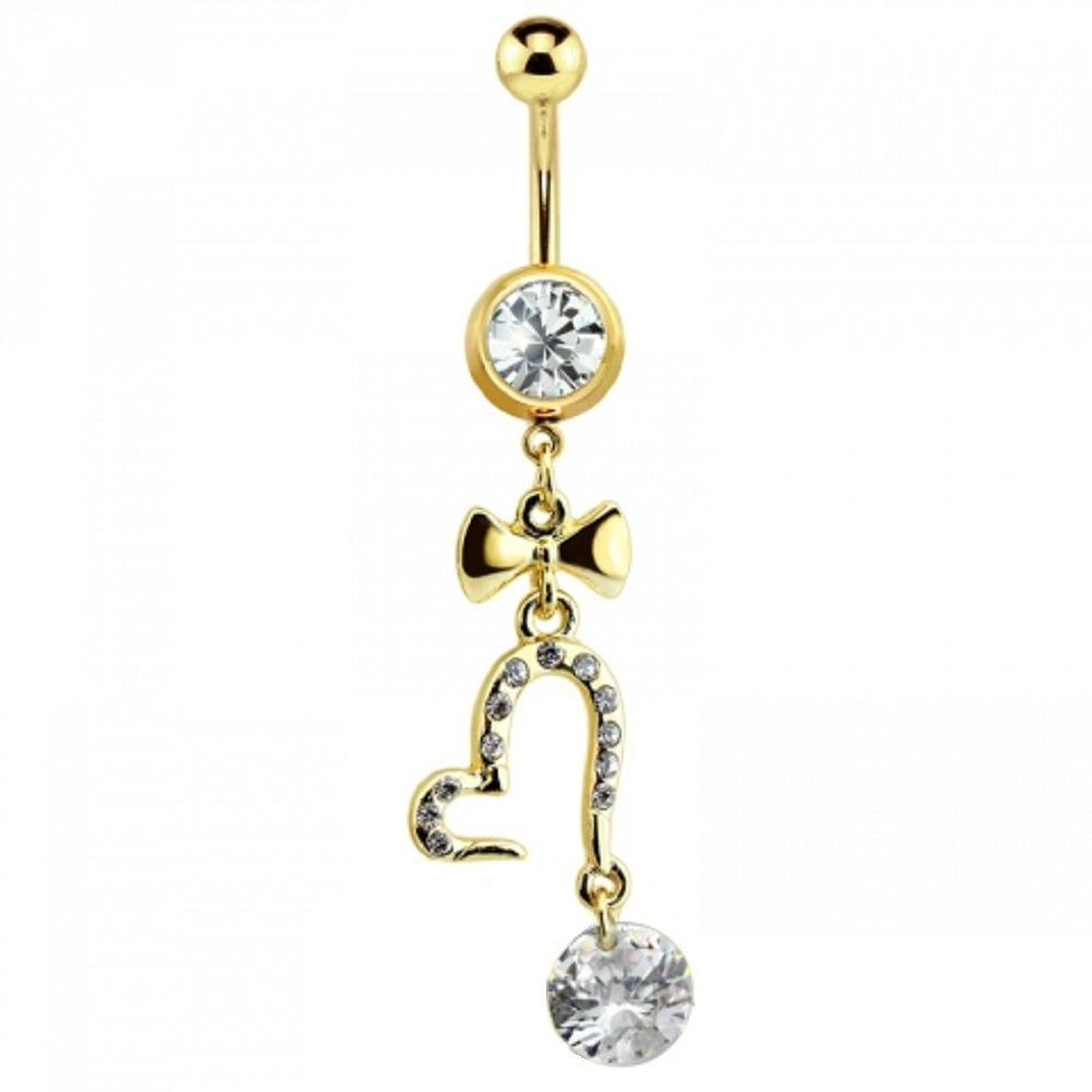 Sold Individually Freedom Fashion Gem Paved Heart CZ Dangle 316L Surgical Steel Navel Ring