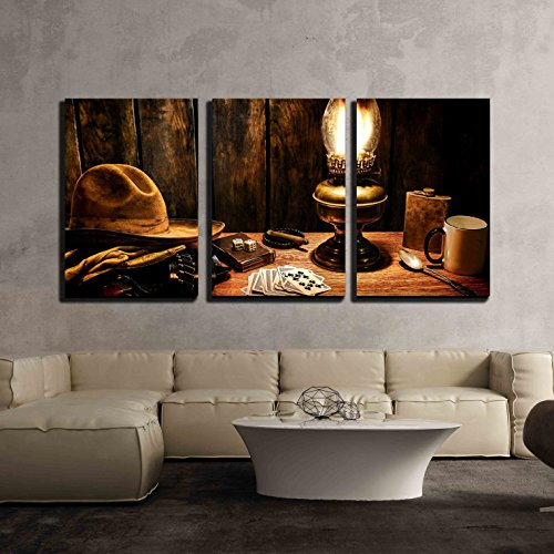American West Picture Frame - wall26 - 3 Piece Canvas Wall Art - American West Legend Cowboy Worn Hat Atop Gloves and Gun - Modern Home Decor Stretched and Framed Ready to Hang - 16