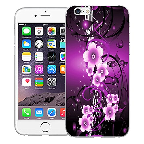 "Mobile Case Mate iPhone 6 4.7"" Silicone Coque couverture case cover Pare-chocs + STYLET - Purple Flower Vine pattern (SILICON)"