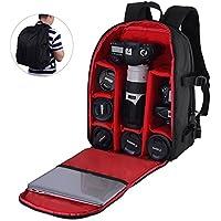 ALLCACA Camera Backpack DSLR SLR Camera Bag Video Padded Backpack for Various Brands of Cameras, Black and Red